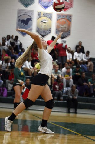 Junior Rachel Jacavage spikes the ball. Photo courtesy of Lifetouch