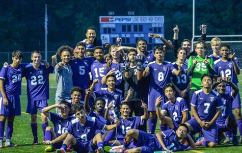 LRHS Boys Varsity Soccer Team posing for a photo after their win against Glenelg. Photo courtesy of Israel Carunungam.