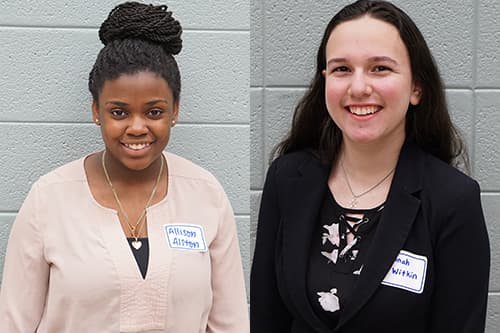 Reservoir Junior Allison Alston (left) and Long Reach Junior Hannah Witkin (right) pose for their official campaign pictures.