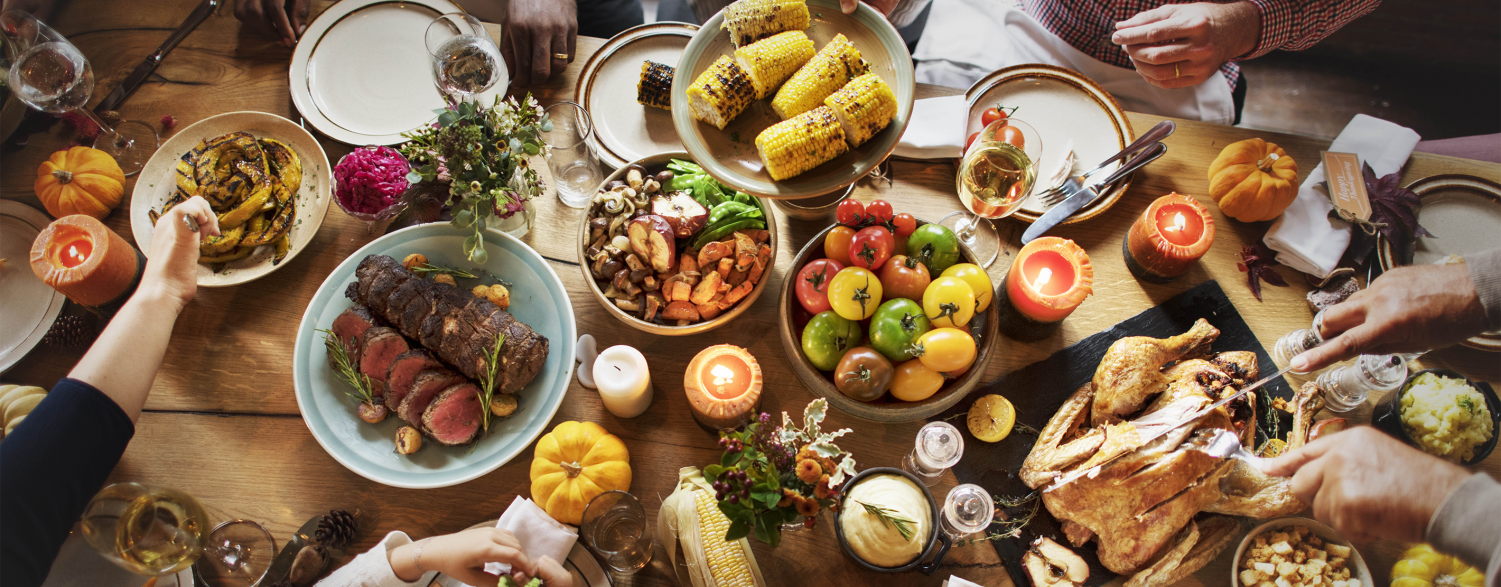 A family comes together on Thanksgiving to eat and celebrate the holiday. https://cpdfdev.landolakesinc.com/Blog/November-2017/land-o-lakes-thanksgiving-from-farm-to-fork