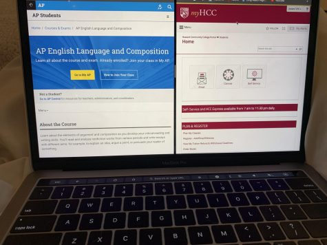 The contrasting websites to access materials relating to AP classes and Dual Enrollment. Photo courtesy of Jessica Bates.
