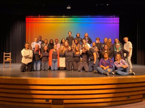 Cast of The Laramie Project with the director, Mrs. Blasko. Photo courtesy of Long Reach Boosters.