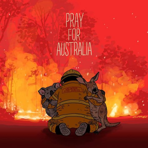 A cartoon depicting a firefighter embracing the animals whose homes were burned in the Australian wildfires. Photo courtesy of https://www.boredpanda.com/tribute-art-to-australian-bushfires/?utm_source=google&utm_medium=organic&utm_campaign=organic.