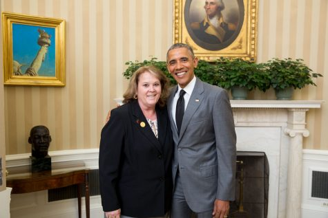 Ms. Zepp with President Obama for the Maryland State Teacher Award. Photo courtesy of Ms. Zepp.