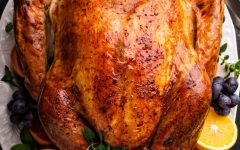 Wild turkey was readily available in the New England region and most certainly was present at the First Thanksgiving. History.com reports that many other birds may have made it to the table as well, including ducks, geese, and swans. Recipe: https://thenovicechefblog.com/turkey/